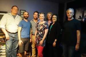 Participants of the Sensaphonics Gold Circle seminar for audiologists gathered in the control room at Mystery Street Recording Company, Chicago. From left: Dale Radke, Joe Tessone, Eric Nelson, Analise Ludwig, Theresa Bartlett, Helene Levenfus, and Dr Michael Santucci.