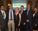 "Presenters and sponsors of the CareCredit/Hearing Review ""State of the Industry"" dinner in Orlando included Amyn Amlani, PhD, of the University of North Texas; HR's editor Karl Strom and publisher Dana Fisher; Dan Quall, MS, of Starkey Hearing Technologies; Brian Taylor, AuD, of Unitron; and Amber Jacquez of CareCredit."
