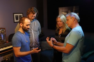 In the master control room at Mystery Street Recording Company from left to right are: Joe Tessone, Matthew Bell, Teresa Cannon, and Michael Santucci, AuD.