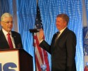 IHS Outgoing President Thomas Higgins swears in IHS Incoming President Scott Beall.