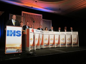 The Industry Leadership Panel and Luncheon was (l to r) moderated by Scott Lau, BC-HIS, and included: Heinz Ruch, Amplifon; Anthony Florek, Beltone; Peer Lauritsen, Oticon; Jeff Newnham, Phonak; Kimberly Herman, ReSound; Scott Davis, Siemens; Brandon Sawalich, Starkey; Jason Meyer, Unitron; and Jeff Geigel, Widex.