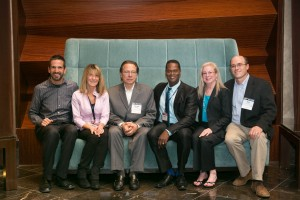 [Click on images to enlarge.] From l to r: Alex Aubert, Solutionreach; Michele Ahlman, Clear Digital Media/HNN; Sergei Kochkin, PhD, industry consultant; Randall Baldwin, CareCredit; Dana Fisher and Karl Strom, The Hearing Review.