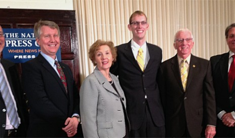 From left: John Fithian (NATO, president & CEO); John Stanton (AG Bell, volunteer); Anna Gilmore Hall (Hearing Loss Association of America, executive director); Andrew Phillips (NAD, policy counsel); I. King Jordan, Ph.D. (Gallaudet University, president emeritus, and ALDA); Randy Smith (Regal Entertainment Group, senior vice president, chief administrative officer & counsel)