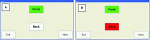 Figure 3. Screen display when: a) the correct location is selected, and b) when the incorrect selection (loudspeaker) is made.