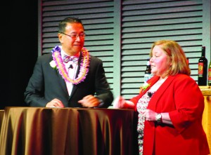 AAA President Elect, Larry Eng, who hails from Hawaii, chats with President Erin Miller during the General Assembly.